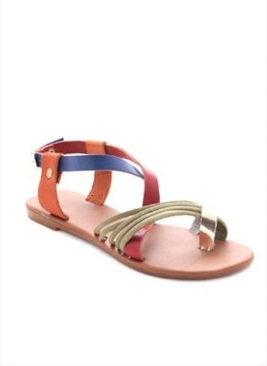 Gio&Mi %100 Deri Sandalet Renkli